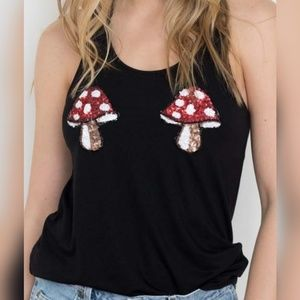Sequin Mushroom Tank Top by Bear Dance NWOT